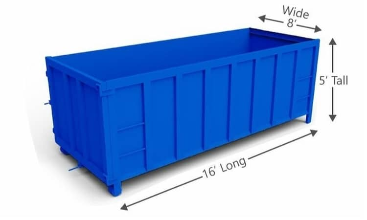 Example of a blue dumpster size of 15 yard at Cardinal Dr near Newman Tennis Center in Forest Hills, Augusta GA.
