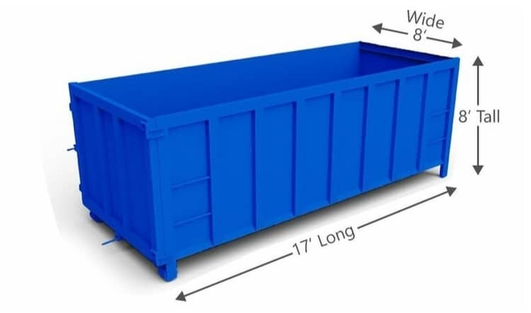 Example of a blue dumpster size of 30 yard at Kissingbower Dr in Pendleton King area in Augusta GA.