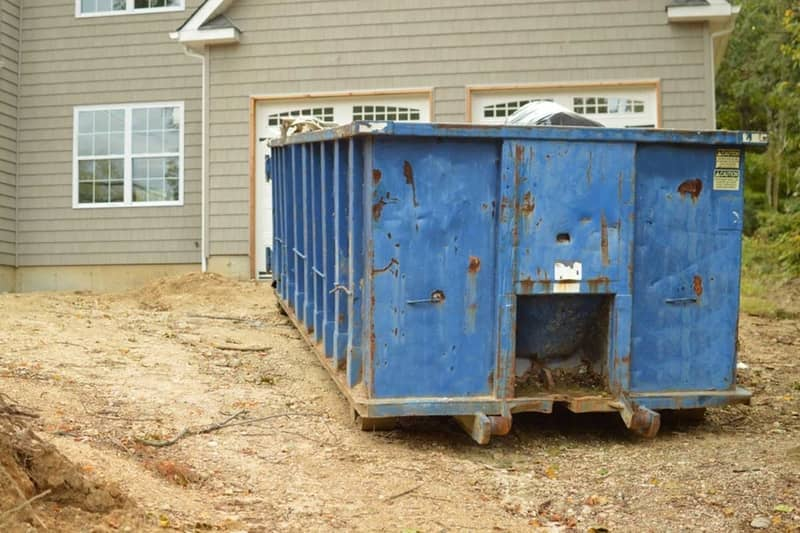 A 30 yard construction dumpster at a home remodeling project in Dennis Dr at Martinez GA area.
